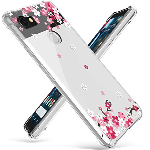 Compatible for Google Pixel XL 2 Case, GVIEWIN Floral Pattern Slim Fit Case with Comfortable Grip, Shock Proof Bumper Soft Rubber TPU Transparent Cover for Google Pixel 2XL (2017), Peach Blossom