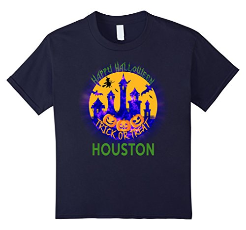[Kids Happy Halloween Trick Or Treat Houston Texas T Shirt 12 Navy] (Party Boy Houston Halloween Costumes)