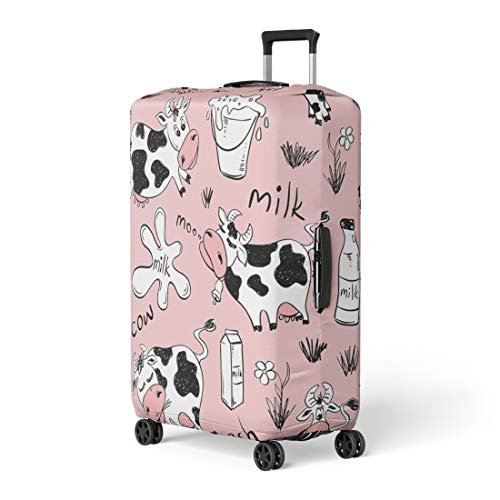 Semtomn Luggage Cover Pink Sketch of Funny Cows and for sale  Delivered anywhere in Canada