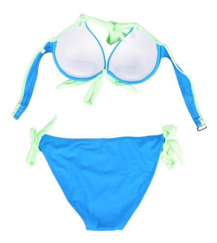 Simplicity® Neck Sides Supportive Contrast Trim Straps Bikini, Blue/Green, L
