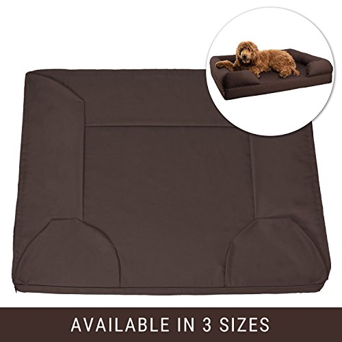 "Petlo Brown Pet Sofa Bed Replacement Cover - Removable Water and Scratch Resistant - Machine Washable and Easy to Clean - Dual Zipper with Gusset - Extra Large 46"" x 36"" x 10"