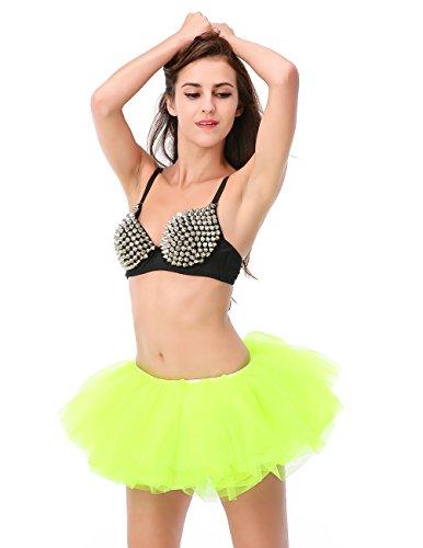 Dressystar Women's Adult Tulle Tutu Ballet Dance Fluffy Skirt Assorted Colors FluorescenceGreen (Tutu Skirts Adults)