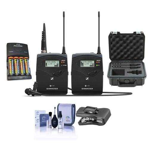 (Sennheiser ew 112 P G4 Camera Lavalier Set, Bodypack Transmitter, ME 2 Lav Omni Mic, G: 566-608 MHz - Bundle with 4 AA NiMH 2900mAh Batteries/Charger, SKB iSeries Waterproof Case, at Clothing Clip)