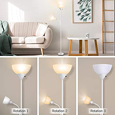 Floor Lamp, LED Standing Uplight Floor Lamps, 9W+4W Energy Saving, with Adjustable Reading Light, 3000K Warm White, Torchiere Floor Lamp Lights for Reading, Working, Living Room, Bedroom & Office