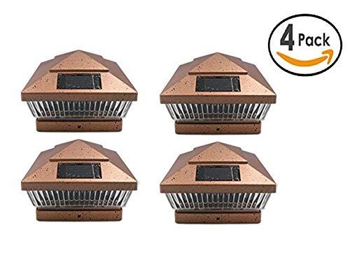 2 Pack Copper Square 6x6 Solar Powered LED Post Cap Lights PL248 (Copper, fit 6