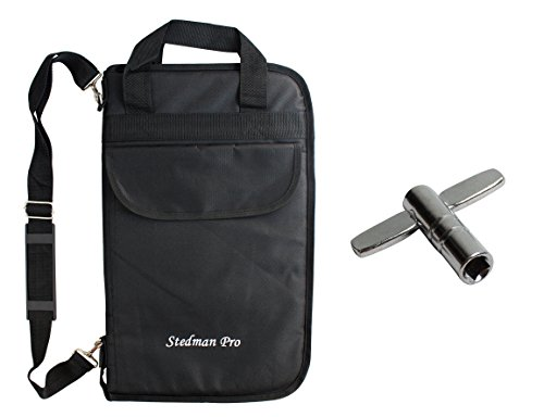 Case Mallet (YMC DSB20-BK Pro 15mm Larger Size Drumstick Bag Holder Mallet Bag with a shoulder strap,Drum Key - Black)