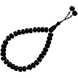 33-Bead Flat Barrel Shape 12x8mm-bead Black Monomer Moslem Tasbih Prayer Dhikr Bead w/2 Bead Chain Tassel