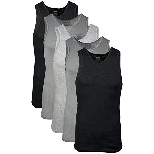 (Gildan Men's A-Shirts 5 Pack, Grey/Black, Large)