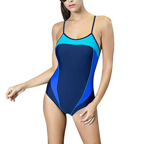 Zhhlinyuan Women's Built-in soft cup Swimwear Fashion nadando Beachwear 7708# Lake blue&Dark blue