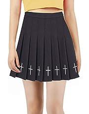Women Girls high Waisted Pleated Skater Tennis School Skirt Uniform Skirts with Lining Shorts