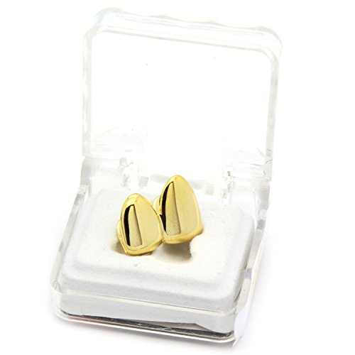 Gold Plated Double Tooth Cap Grillz Hip Hop Teeth Plain Solid Two (Gold Tooth)