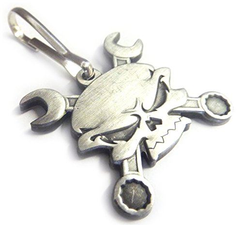 - Skull Cross Wrenches Antique Nickel Car Motorcycle Mechanic Backpack Jacket ZIPPER PULL