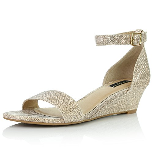 DailyShoes Women's Wedge Open Toe Strap Chunky Heel Sandal Fashion Shoes, Gold Glitter, 8 B(M) US