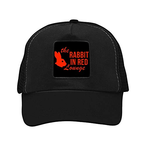 The Rabbit in Red Lounge Cap Hat Twill Mesh Cool Adjustable Unisex Caps Black