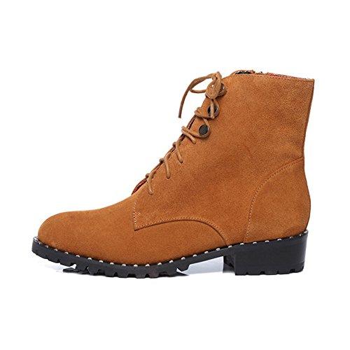 del sottile nel marrone Longitud pie Cerniera lato Short boots Cintura 22 3CM Stivali Martin in pelle 8Inch Stivaletti Frosted 8 78W06qz
