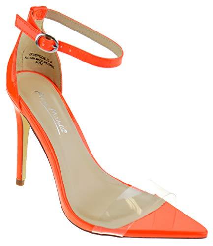 - Anne Michelle Exception 10 Womens Single Band Open Toe Platform Heeled Dress Sandals Neon Orange 9