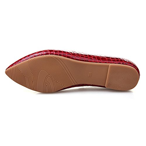 Amoonyfashion Femmes Pu Checkered Pull-on Point Fermé Fermé Orteils Talon Chaussures-chaussures Rouge