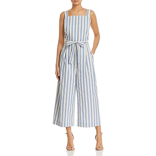- Lafayette 148 New York Womens Colette Cropped Striped Jumpsuit Blue XL