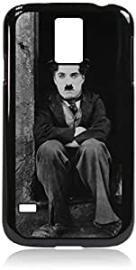Charlie Chaplin- Hard Black Plastic Snap - On Case-Galaxy s5 i9600 - Great Quality!