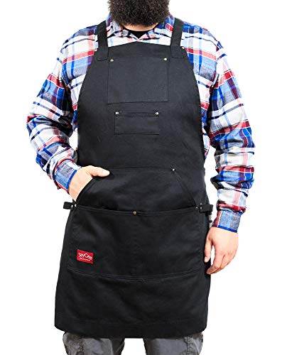 JayCee's Ultimate Apron for BBQ, Grill, Chef, Work and Hobby, 5 Pockets-1 Hoodie Style, Cross-Back Design, Quick Release Buckle, 2 Towel/Tool Loops. 10 oz. Cotton for Your Comfort. for Men and Women