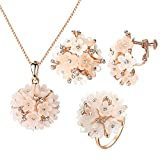 Yoursfs Bridesmaid Jewelry Set Small Pink Cluster Flowers Shambala Style Disc Necklace Ring Nonpierced Earrings