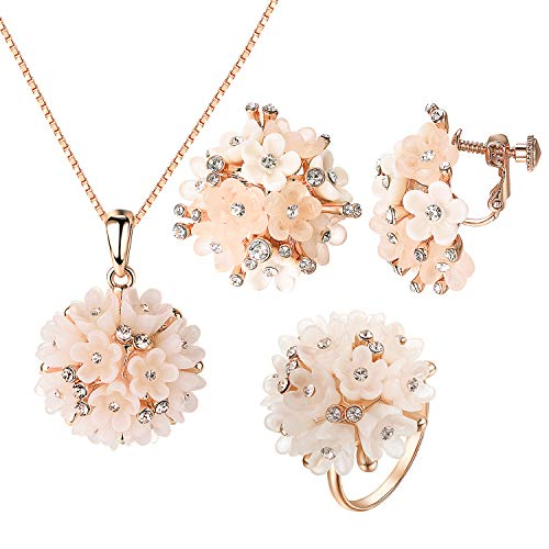 Pink Cluster Flowers - Yoursfs Bridesmaid Jewelry Set Small Pink Cluster Flowers Shambala Style Disc Necklace Ring Nonpierced Earrings