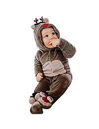 FEITONG Newborn Baby Girl Boy Deer Romper Footies Winter Warm Outwear