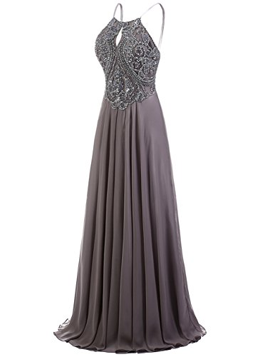 Halter Party Orange Gown Long Evening DRESSTELLS Dress Dress Beaded Prom Chiffon qp7tf