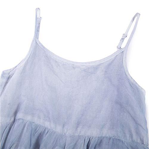 color Dress One Maxi Hungrybubble Da Irregular Spaghetti Swing Tasche Size Strap Blue Blue Con Donna Size vpTxAqgwp