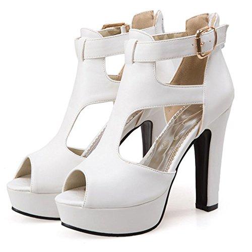 Caviglia Open Chic Tacco Cuoio Toe Lavoro Della Pompe Delle Bianco Xia Donne Dell'involucro Tele Hasp Sandalo Elaborazione Sexy Alto Dell'unità Di SXnwTdBxqd
