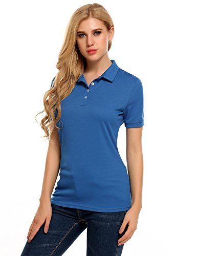 (Zeagoo Womens Short Sleeves Polo Top Pique T-Shirt,Blue,XXL)