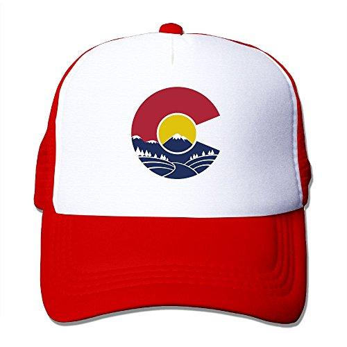 Hgjoafnkln Rocky Mountain Colorado Mesh Hat Baseball Caps Funny Grid Hat Adjustable Trucker Cap