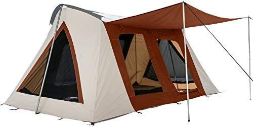 10×14 and 10×10 Deluxe Canvas Tent 4 Season Heavy Duty 100% Cotton Canvas Cabin Style Tent w/Silver Coated Roof, Bug Mesh on Large Windows & D-Shaped Doors for Outdoor Family Camping & Music Festival