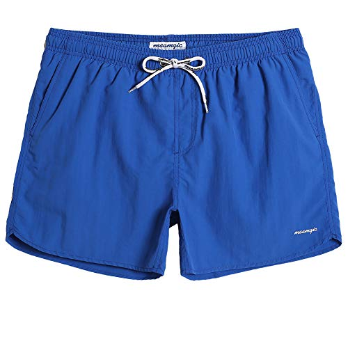 MaaMgic Mens Boys Short Solid Swim Trunks with Mesh Lining Quick Dry Mens Bathing Suits Swim Shorts, Royal -