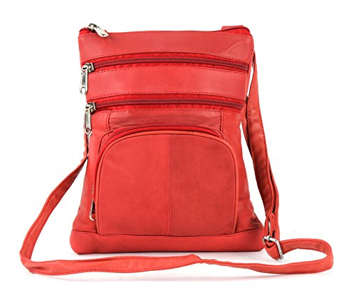 For Crossbody Every Use Pockets Genuine Day Multi With Purse 5 Red Bags Bacci Leather For Women Pf4w4BqE