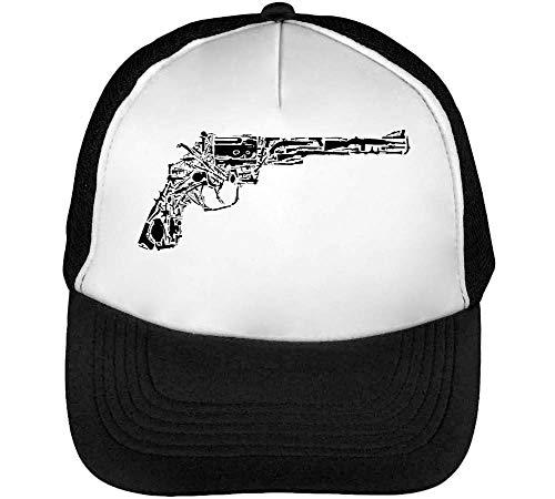 Revolver Made Of Guns Dope Gorras Hombre Snapback Beisbol Negro Blanco