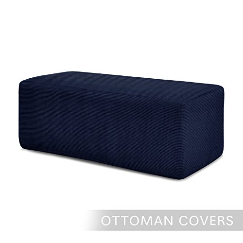 Chunyi Stretch Spandex Jacquard Rectangle Folding Storage Ottoman Slipcover (Ottoman(L), Dark Blue)