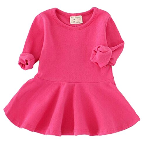 EGELEXY Baby Girls' Long Sleeve Cotton Ruffle Top Dress 6-12Months Red