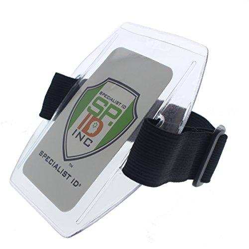 Armband Badge Holder with Black Adjustable Elastic Arm Band & HOOK AND LOOP Fastener By Specialist (Arm Badge Holder)