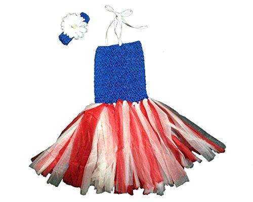 Kam Wing Cheong KWC – Patriotic Girls Tutu Dress with Crochet Tube Top Baby Pettiskirt July 4th (Small)