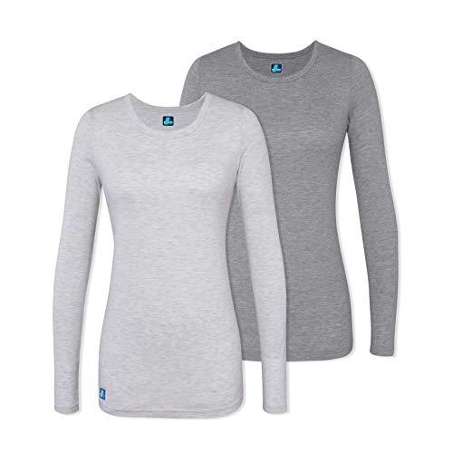 - Adar 2 Pack Women's Comfort Long Sleeve T-Shirt/Underscrub Tee - 2902 - Dark Marl Grey/Marl Grey - XS