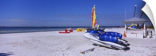 Canvas On Demand Wall Peel Wall Art Print entitled Two jet boats and a windsurfing board on the beach, Fort Myers Beach, Bowditch Point Regional Park, Gulf Of Mexico, Florida - Hut Fort The Fl Myers