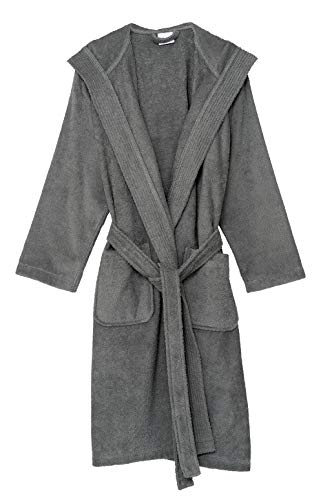 TowelSelections Men's Hooded Robe, Cotton Terry Cloth Bathrobe Medium Frost Gray