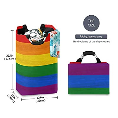 AUUXVA SEULIFE Laundry Hamper, Colorful Rainbow Stripe Laundry Basket Washing Clothes Hamper Collapsible Storage Bin Foldable Shopping Bag Toy Book Holder: Home & Kitchen
