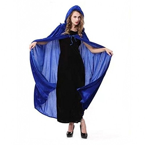 Hood Halloween Costumes For Women Halloween Costumes Cosplay Halloween Dress Up Costumes For Adults Velvet Hooded Halloween Cloak Costume Party Capes Blue (Different Female Halloween Costumes)