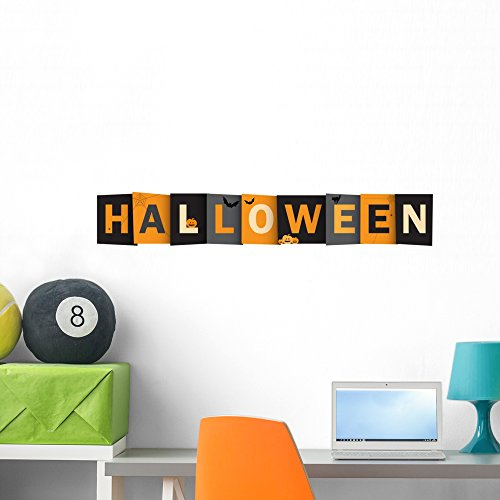 Wallmonkeys Halloween Vector Letters Icon Wall Mural Peel and Stick Vinyl Graphic (36 in W x 9 in H) WM363120 -