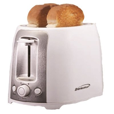 Brentwood Appliances TS-292W 2-Slice Cool Touch/Wide Slot Toaster, White and Stainless Steel