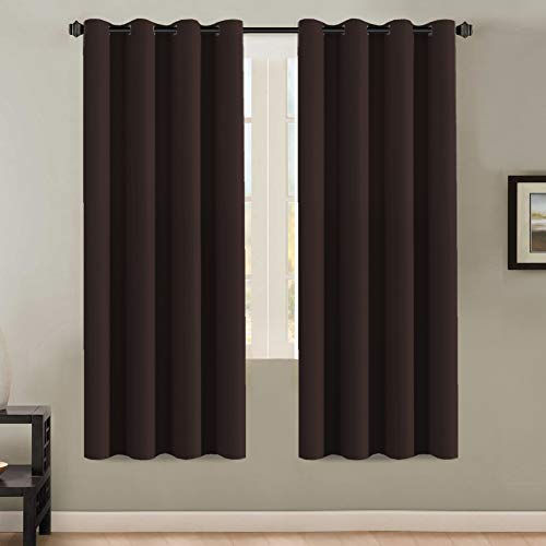 H.VERSAILTEX Thermal Insulated Blackout Curtains - Antique Copper Grommet Top Window Drapes - Chocolate Brown - 52