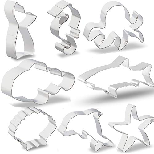 Sea Cookie Cutter Set with Storage and Brush, GOH DODD Food Grade Stainless Steel Fondant Molds for Party, 8 Pieces - Shark, Starfish, Seahorse, Octopus, Seashell, Dolphin, Clown Fish, Mermaid Tail