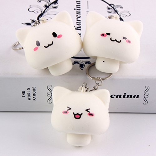 Squishy Toys Mushroom Cat Kawaii Cartoon Cute Face Decor Bag Cellphone Straps Random Color by Aroundstore